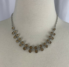 Golden Rhinestone Bezel Necklace Earrings Set Silver Tone Dangle Hook Fashion - $10.26