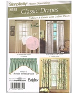 Simplicity 4181 Classic Drapes Valance Panels with Pleats Pattern - $7.99