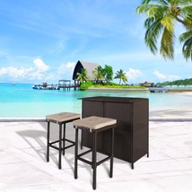 3 PC Wicker Patio Outdoor Bar Set Rattan Table & 2 Stools Barstool Furni... - $189.99