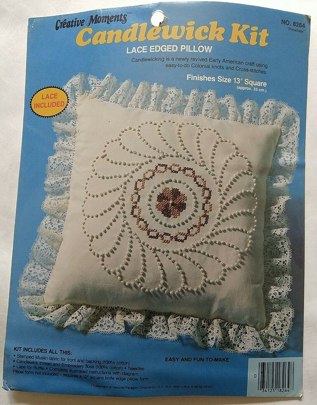 """Craft Kit Candlewick Creative Moments Vintage 1983 Lace Edged Pillow 13"""" #8264 - $19.50"""