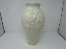 "Lenox Bone China Floral Vase Iris Pattern 14-3/4""H Gold Rimmed Ivory Embossed - $49.45"