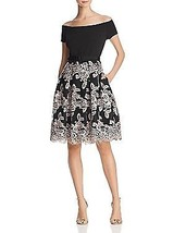 Eliza J Off the Shoulder Party Dress, Black/Blush, 6 - $168.29