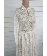 40s Wedding Gown Ivory Antique Lace Sheer Dress Vintage XS S - $84.00