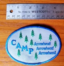 Vintage Boy Scouts of America Camp Arrowhead Patch - Oval Fir Trees Blue Green - $7.84