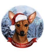 Holiday Pet Gifts Chiweenie Red Santa Hat Dog Porcelain Christmas Tree O... - $14.95