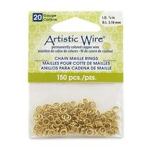 20 Gauge Artistic Wire, Chain Maille Rings, Round, Tarnish Resistant Bra... - $2.99