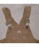 Overalls Shorts Flowers  Size 2T 24 Months One Piece Girls Beige Pink Kiks - $9.99