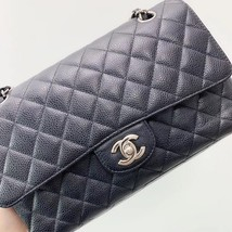BRAND NEW AUTH Chanel Medium Black Caviar Classic Double Flap Bag SHW image 7