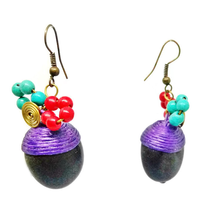 Colorful Hook Dangle Earrings Stone& Beads& Rope& Brass