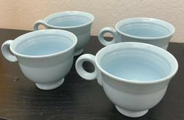 4 Mikasa Moderna Blue Haze Light Blue Tea Footed Coffee Cups/Mugs Emboss... - $17.77