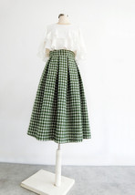 Women Green Houndstooth Midi Skirt A-line Winter Wool Midi Party Skirt Plus Size image 2