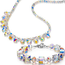 PRICE CUT!! VINTAGE 1950s Clear Glass Faceted Necklace  Aurora Borealis Crystal - $9.99
