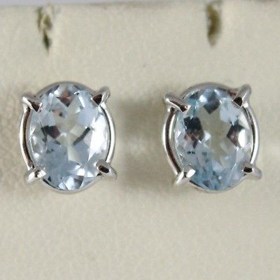WHITE GOLD EARRINGS 750 18K LOBE WITH AQUAMARINE OVAL 1.40 CARAT