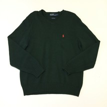 Polo Ralph Lauren Mens L V Neck Sweater Green Long Sleeve Cotton Pullover - $17.09