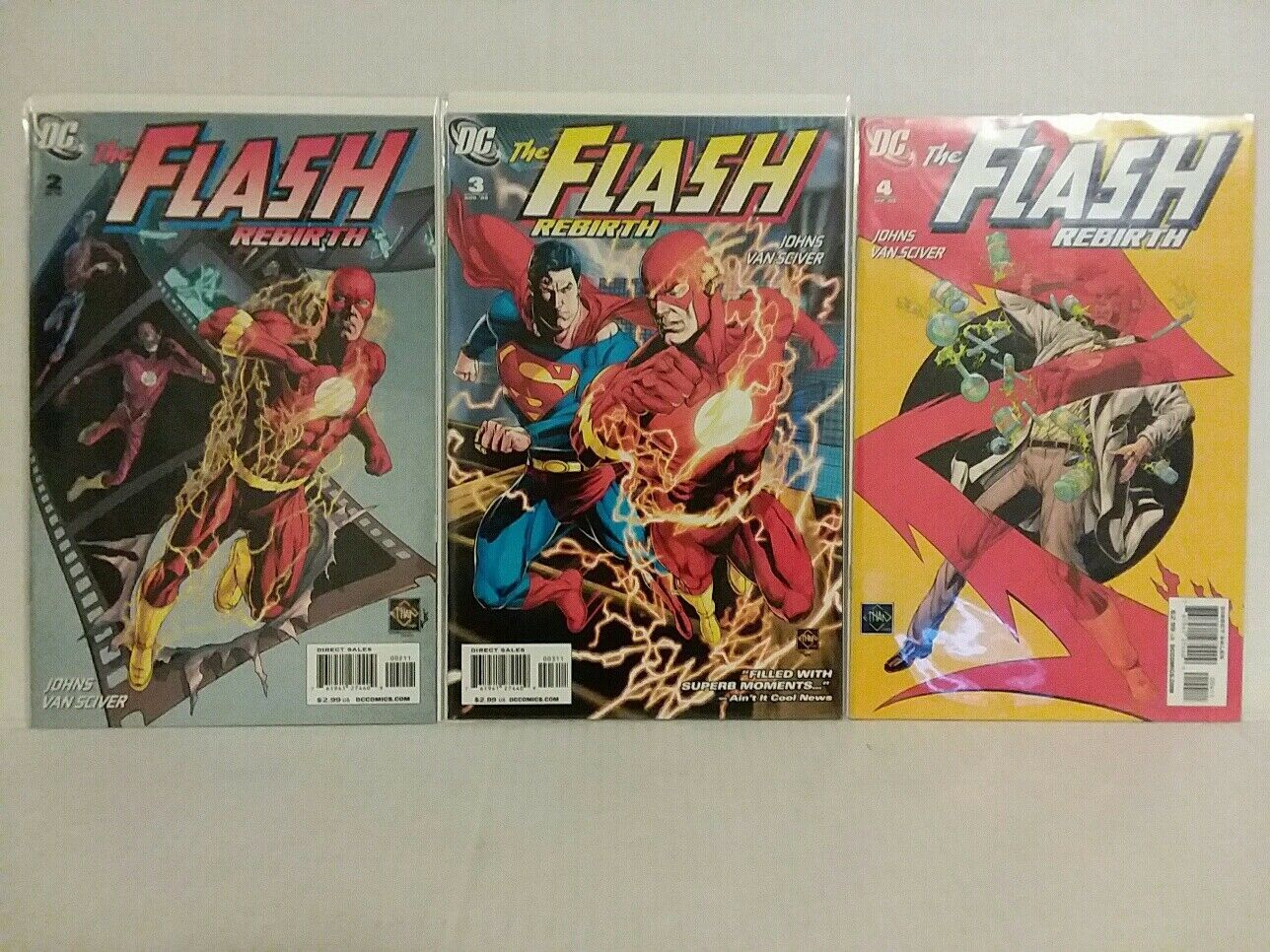 THE FLASH: REBIRTH #2, #3 AND #4 JOHNS AND VAN SCIVER- FREE SHIPPING
