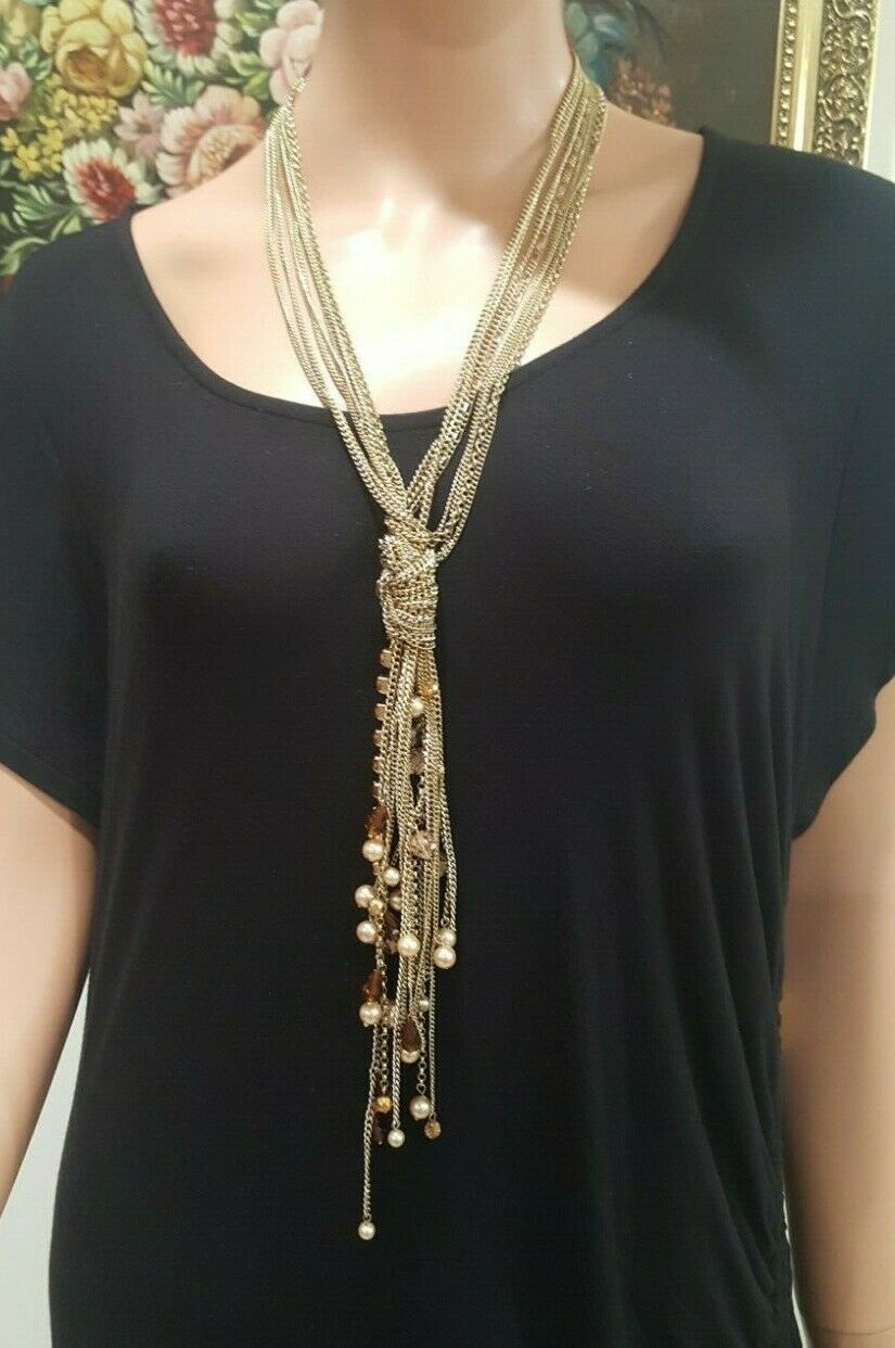 American Glamour Badgley Mischka  Long Gold Plated Knot Tassel Beaded Necklace
