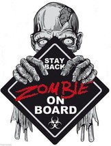 ZOMBIE ON BOARD STAY BACK HELMET LAPTOP BUMPER  MADE IN USA  DECAL STICKER - $13.53