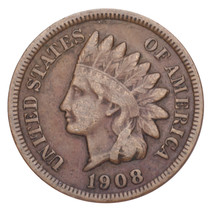 1908-S Indian Head Cent 1C Penny (Fine, F Condition) - $118.79