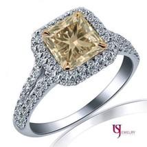 1.58 TCW Champagne Diamond Engagement Halo Ring 18k White Gold - $2,276.01