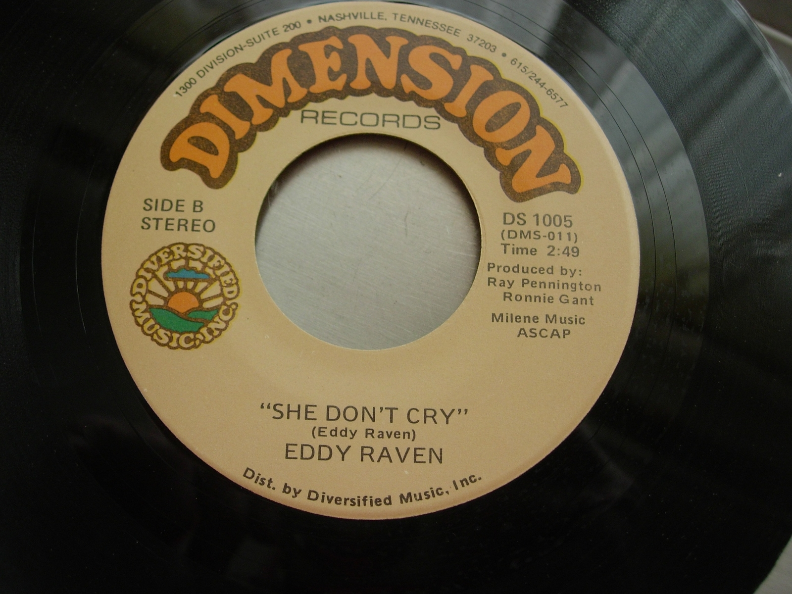 Eddy Raven - Dealin' With the Devil / She Don't Cry -  Dimension Records DS 1005