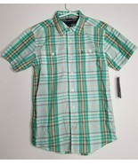 TOMMY HILFIGER Boy's Green Brown Plaid Shirt Size M 12/14 Short Sleeve NEW - $11.99
