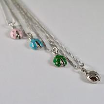 Silver Necklace 925 Jack&co with Balls Shiny and Ladybug Enamelled 45 CM image 2