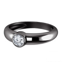 Solitaire Ring In Round Cut White Diamond Black Gold Plated 925 Sterling Silver - $64.78