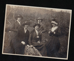 Antique Vintage Photograph Five Women in Cool Outfits in the Woods - $6.93