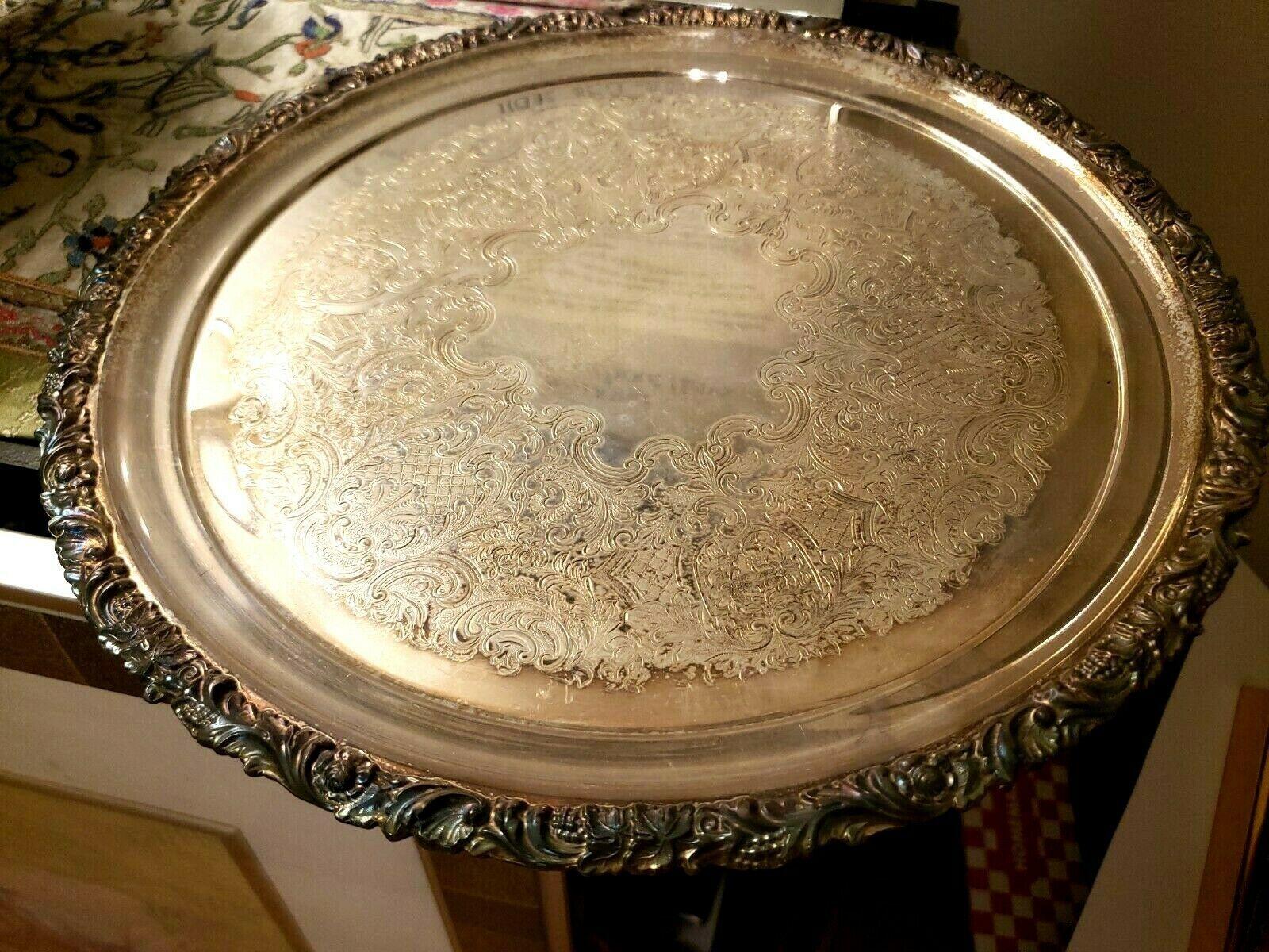 Vintage BIRKS 12: Round Silverplate Platter  - $52.25