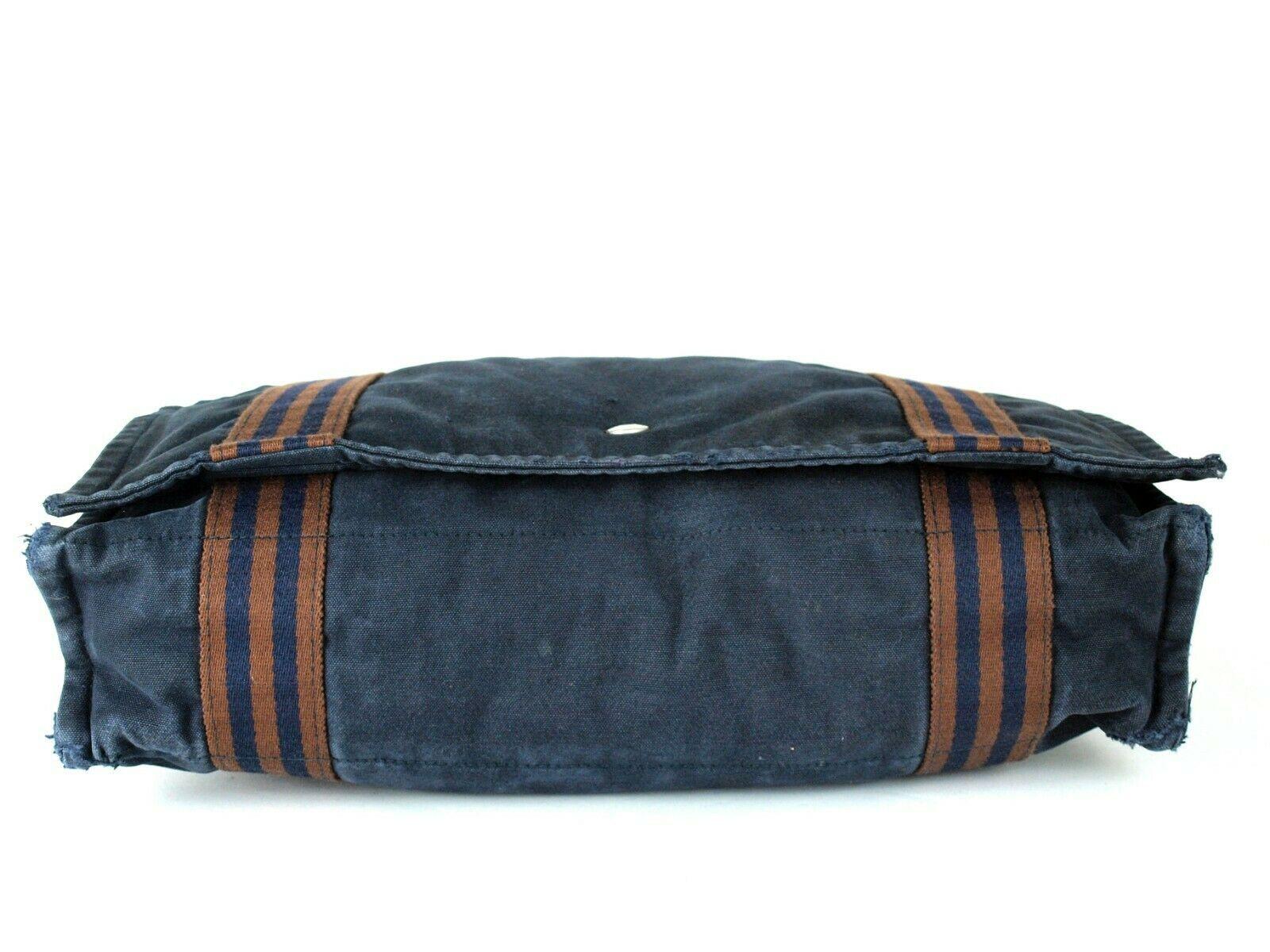 Auth Hermes Fool Toe Vassus MM Navy Cotton Canvas Shoulder Bag Purse France Used image 5