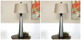 TWO LARGE AGED SILVER METAL BASE TABLE LAMP LINEN SHADE READING DESK LIGHT - $409.20