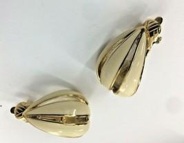 Trifari Gold tone White/Cream/Ivory Enamel Teardrop Clip On Earrings 1 inch  - $9.75