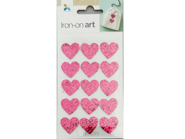 Momenta Iron-on Art, Pink Glittered Hearts, Set of 15 #33534