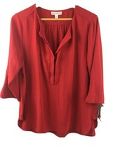 Dana Buchman Blouse XL Shirt Popover Top Red Solid NWT SS71 - $22.77