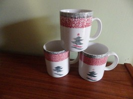 (3) Gibson Christmas Star (Tree) Mugs Sponged Green & Red Pink - $21.78