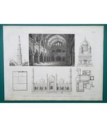 ARCHITECTURE India Madura Delhi Spain Alhambra Cordoba - 1870 Engraving ... - $16.20