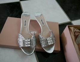 NIB 100% AUTH Miu Miu Silver Glitter Strass Sandals $790 Sz 35.5 - $493.02