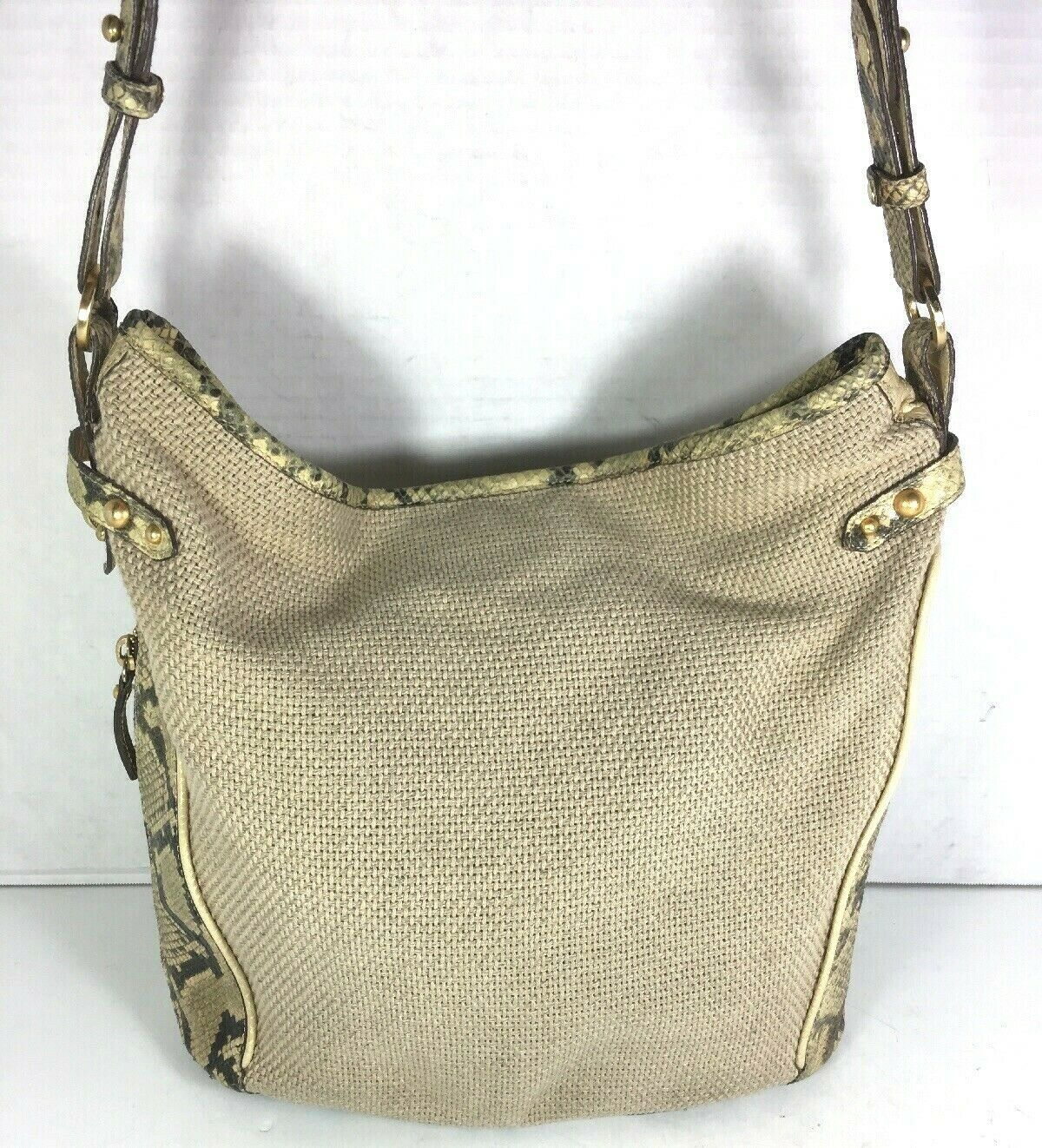 Primary image for Brahmin Beige Fabric and Reptile Print Trim Shoulder Bag- Well Worn