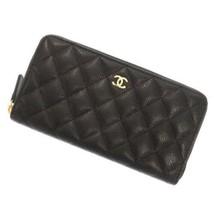 CHANEL Classic Zip Around Long Wallet Caviar Leather Black CC Logo AP024... - $1,519.75