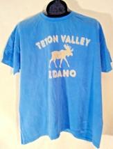 TETON VALLEY IDAHO MOOSE T-SHIRT WHITE GRAPHIC LIGHT BLUE 2XL COMFORT CO... - $7.99