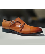 Men's Monk Shoes, Handmade Tan Shoes, Dress Cap toe Formal Shoes, Buckle... - $157.97