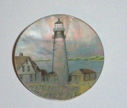 """Pretty Lighthouse & Buildings MOP - Mother Pearl Shank Button 1-3/8"""" Lig... - $11.87"""