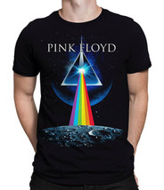 Pink Floyd T-Shirt Black Dark side of the Moon Prism Album Cover Distressed - $14.80