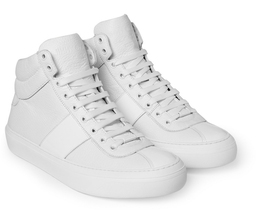 Mens High Top Sneakers Shoes Jimmy Choo Belgravia White Full Grain Leather  40 7 - $399.00