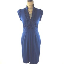 BCBG Max Azria Dress XS Midnight Blue Silk Ruffle Pocket Jersey Stretch  - $23.95