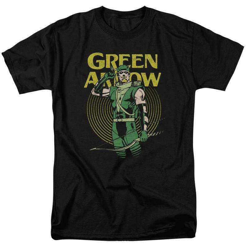 Green arrow t shirt retro 80s dc comic book cartoon superhero black tee dco800