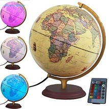 "Illuminated World Globe with Built in multi-color LED light 12"" with remote - $137.06"