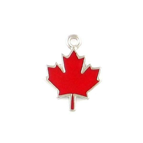 RED MAPLE LEAF EPOXY ENAMELED FINE PEWTER CHARM PENDANT - 14mm  x 19mm x 2mm
