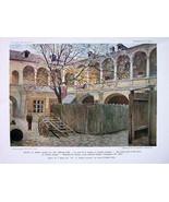 PRAHA Prague Renaissance House of Golden Tree - COLOR Antique Print - $11.10