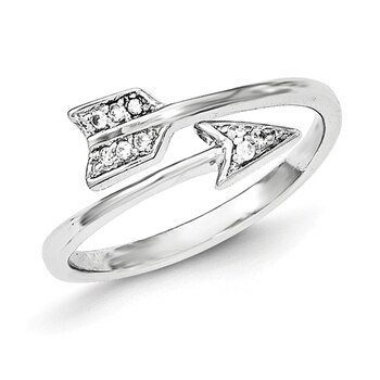 Primary image for Lex & Lu Sterling Silver Polished CZ Arrow Adjustable Ring